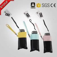 black coated 19'' mini pocket size phone umbrella with carrying bag