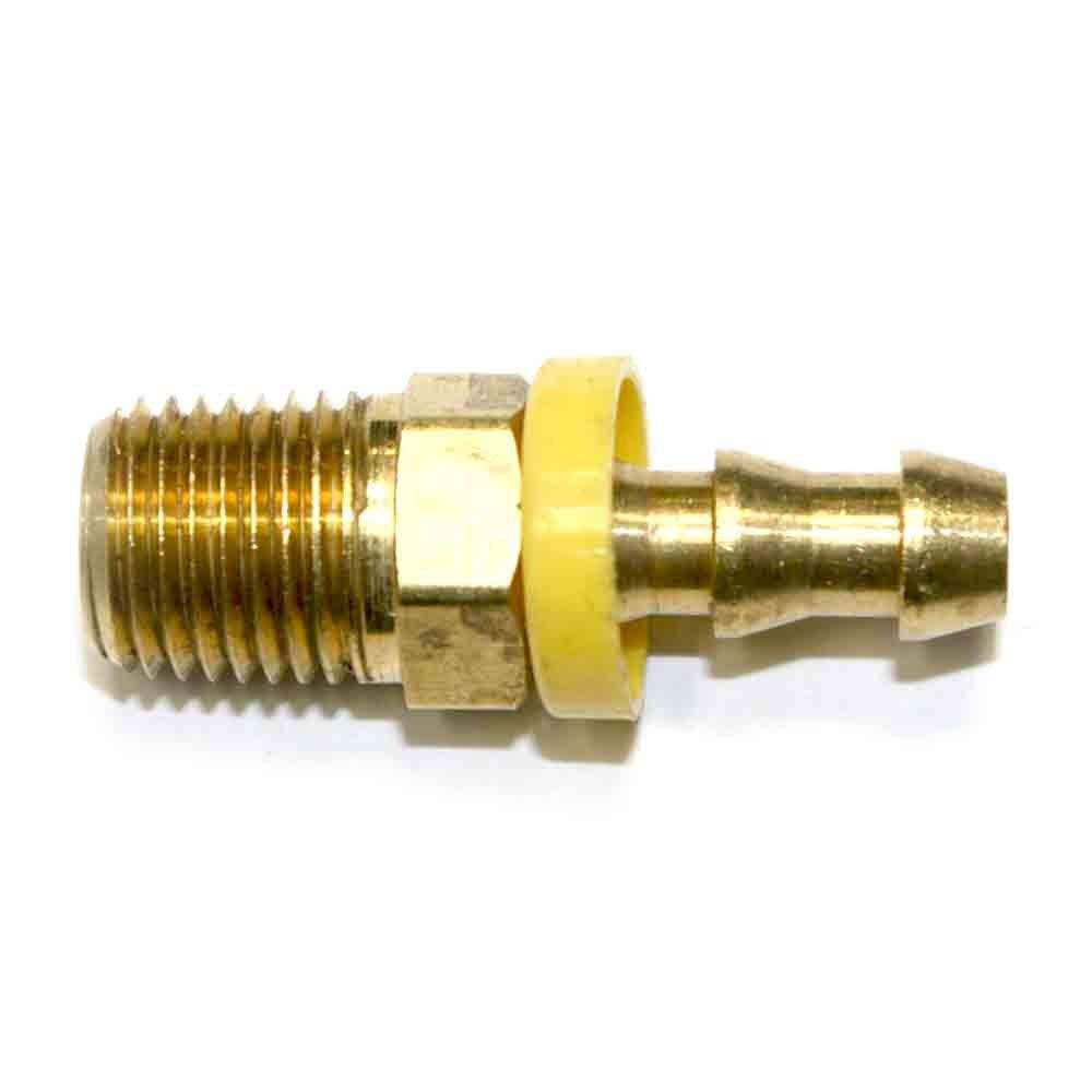 Interstate Pneumatics FL144 Easy Lock Brass Hose Fittings, Connectors, 1/4 Inch Push-Lock Barb x 1/4 Inch Male NPT End