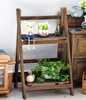 2 Tier Wooden Corner Standing Plant Display Stand Shelf