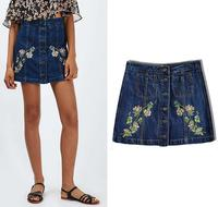 B33083A Wholesale OEM Fashion Summer Girls Sexy Short Jeans Skirt High Waist Bodycon Skirts
