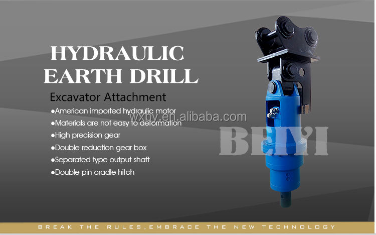 BEIYI BY-AD300 Mini Excavator Mounted Hydraulic Powered Earth Auger Drill for sale