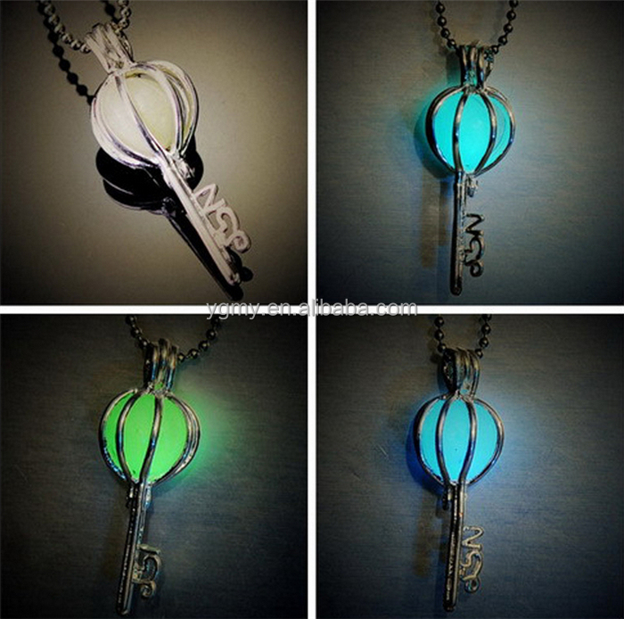 Luminous key locket necklace glow in the dark necklace