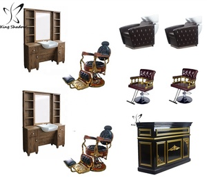 Antique barber chair station hair salon furniture package