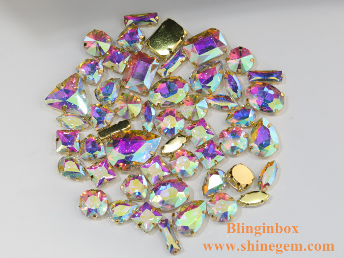 Wholesale silver base resin green opal color glass sew on claw rhinestone