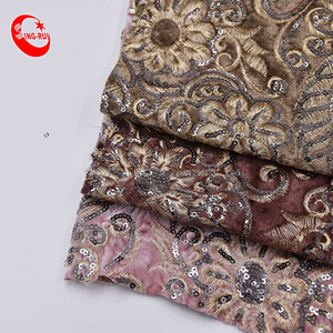 Popular Shoe Material Sequin Embroidery Velvet Fabric