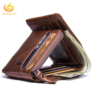 Factory Wholesale RFID Blocking Vintage Trifold Wallet Genuine Leather with Zip Coin Pocket Wallets