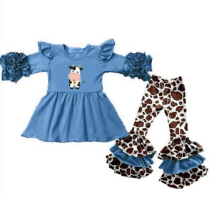 Latest Design Children Clothes Set Baby Girls Outfit Spring Farm Cow Outfits Girls Clothing Sets