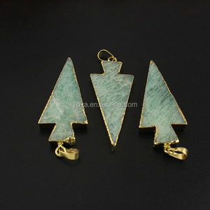 JF6532 Wholesale aqua amazonite druzy arrowhead pendants,aqua blue arrow head pendants