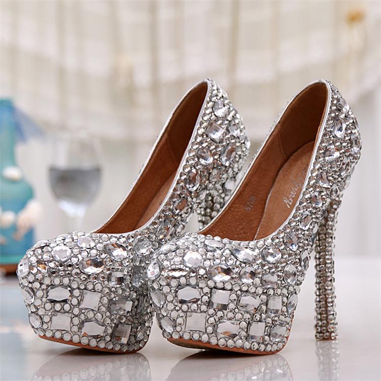 Elegant Wedding Shoes Round Toe Silver Rhinestone High