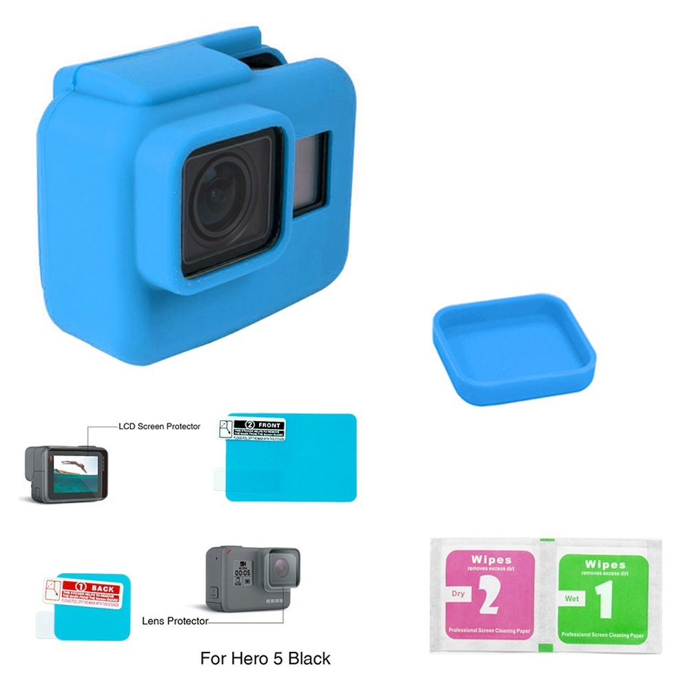 Gopro Hero 5 Protective Silicone Case + Lens Cover + LCD Protector + Cleaning Wipes 4 Items (Gopro Case Blue)