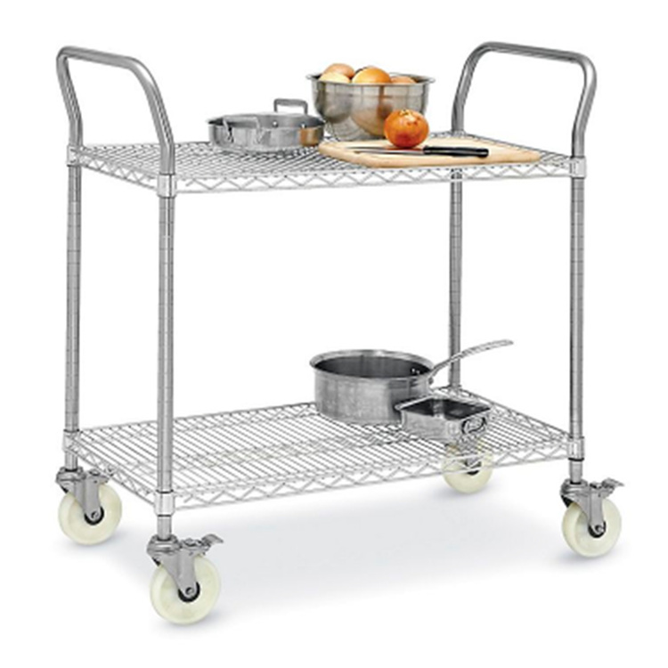 Restaurant storage chrome plated wire shelving with wheels