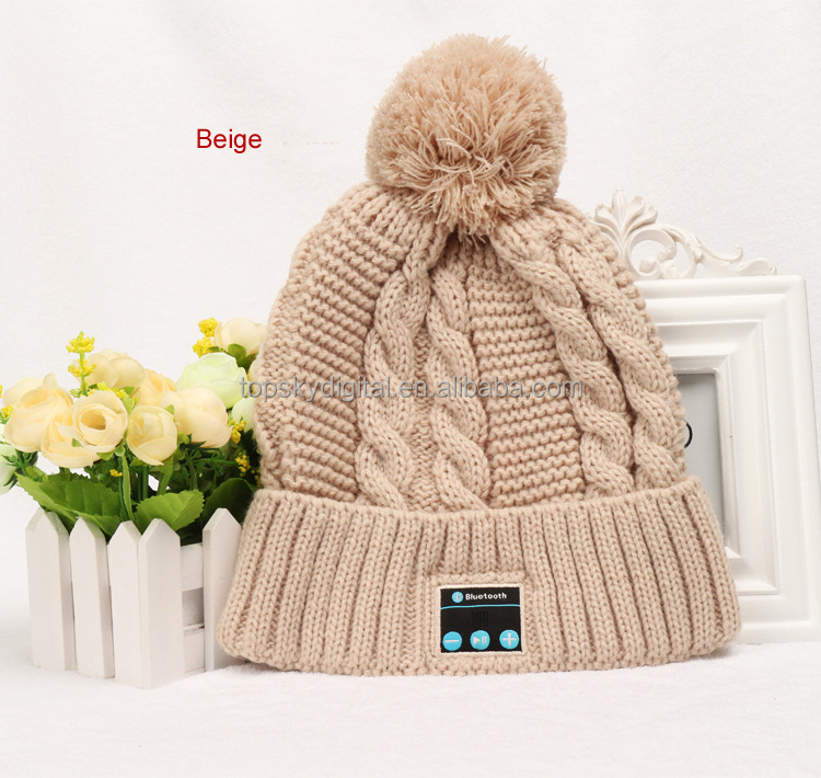 Girls gift bluetooth hat fashion design with pom ,smart hat including bluetooth headset