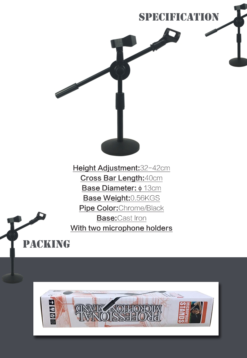 Adjustable Foldable Desk Microphone Stand with Mic Clip for Meetings, Lectures and Podcasts