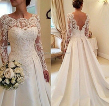free shipping high quality beautiful V back lace long sleeve bridal wedding dress #OW592