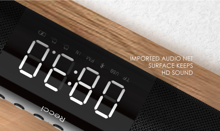 Recci R1 series luxury alarm clock 20W Blue-tooth wireless speaker for home theater