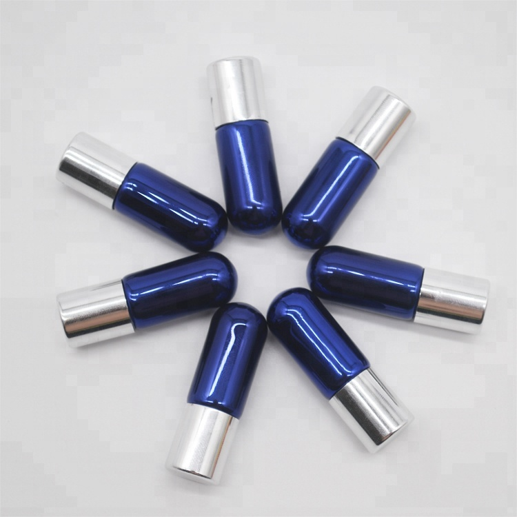 hot sale 3ml Electroplating blue tiny glass roller bottles for essential oil with stainless steel metal roller ball