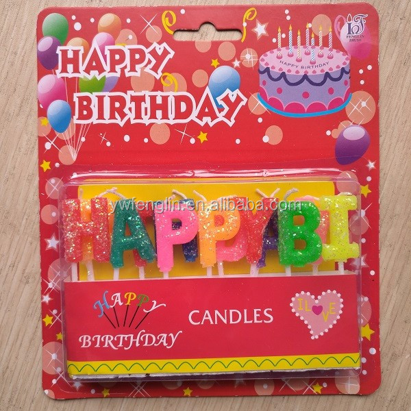 2018 New Design Happy Birthday Alphabet Letters Candles For Cake