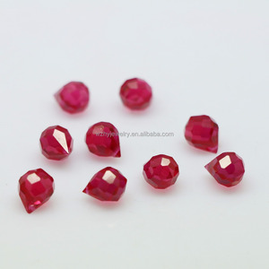 Briolette Faceted Cut Teardrop Synthetic Ruby Beads For Jewelry Making
