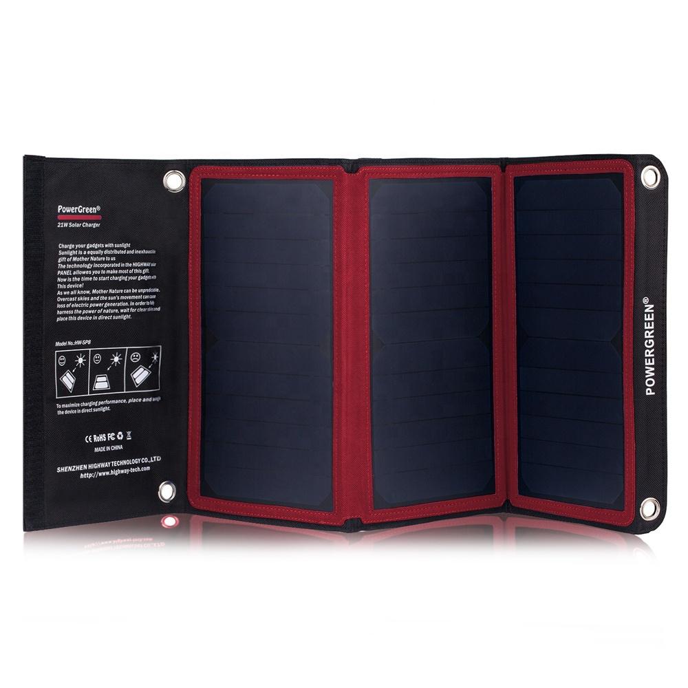 PowerGreen электрический велосипед, солнечное зарядное устройство 21 Вт, солнечная панель, мобильный телефон, солнечная батарея, складной источник питания Bnak