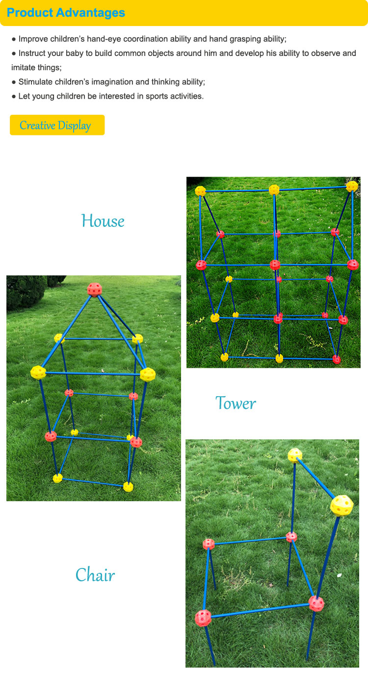 New kids bouwen fort building plastic crazy fort met ballen en stokken