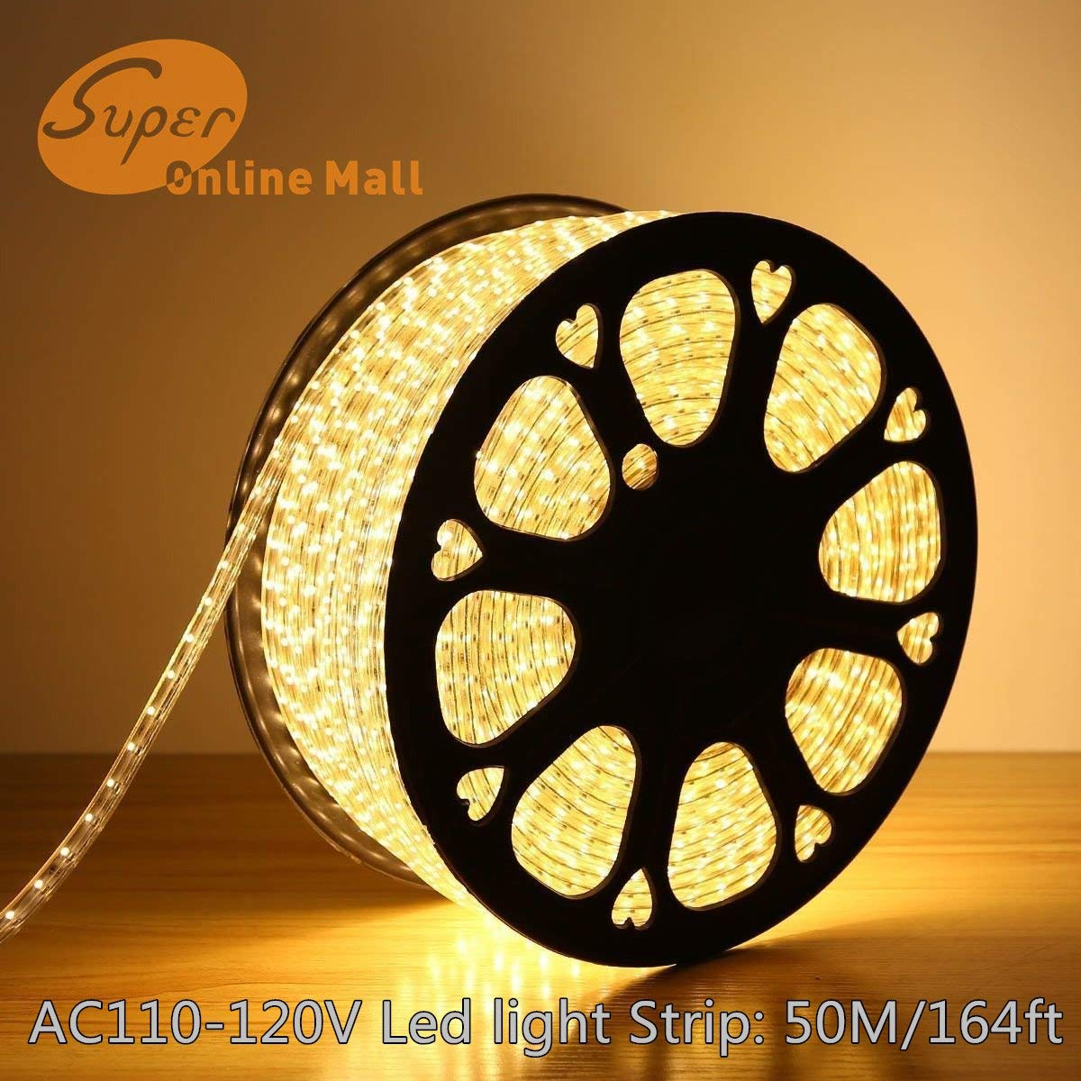 SuperonlineMall AC 110-120V Flexible Waterproof LED Strip Lights, 50m/164ft - Warm White