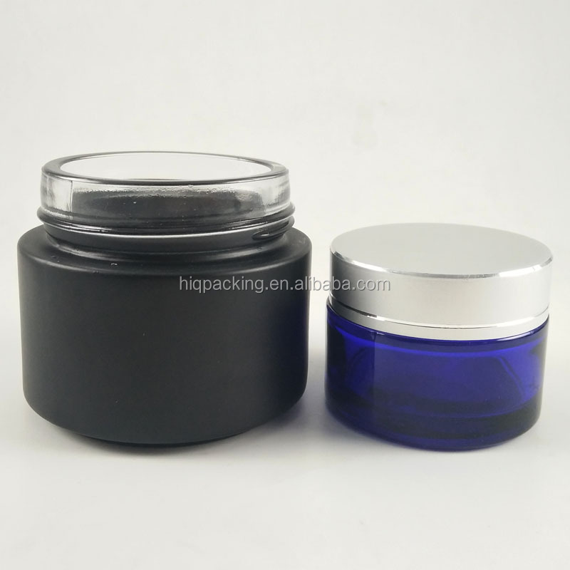empty 30ml 50ml 100ml cosmetic matte frosted black glass jars manufacturer 1 oz
