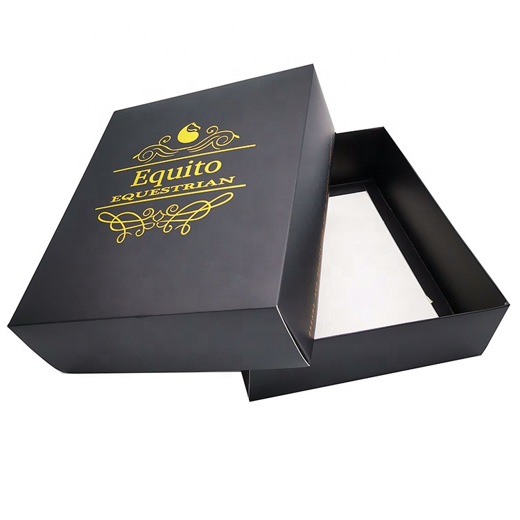 Black color high end cardboard packaging box with design