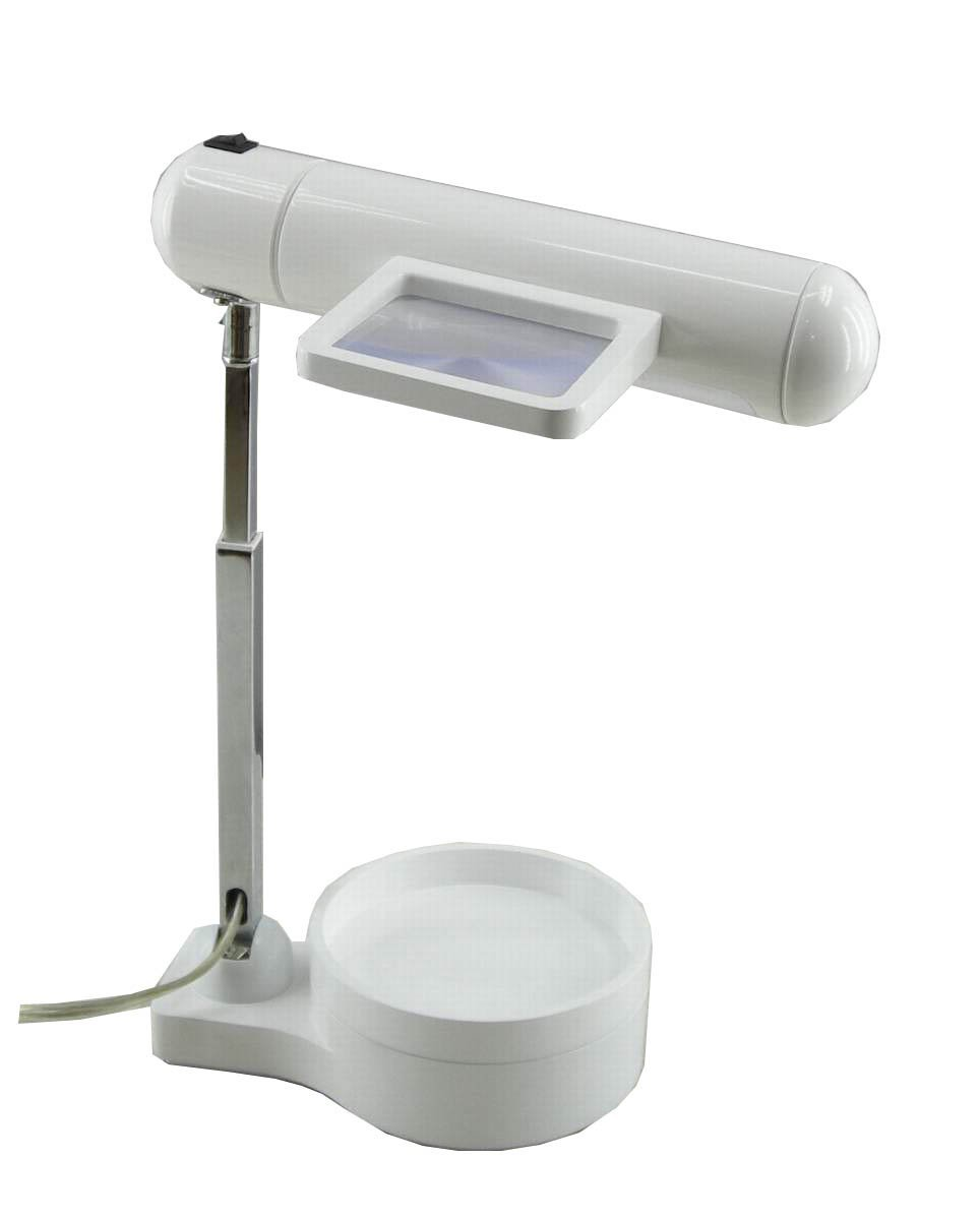 Normande Lighting GP3-769A-WH 13W Daylight Spectrum Desk Lamp with Magnifier and Organizer Base, White