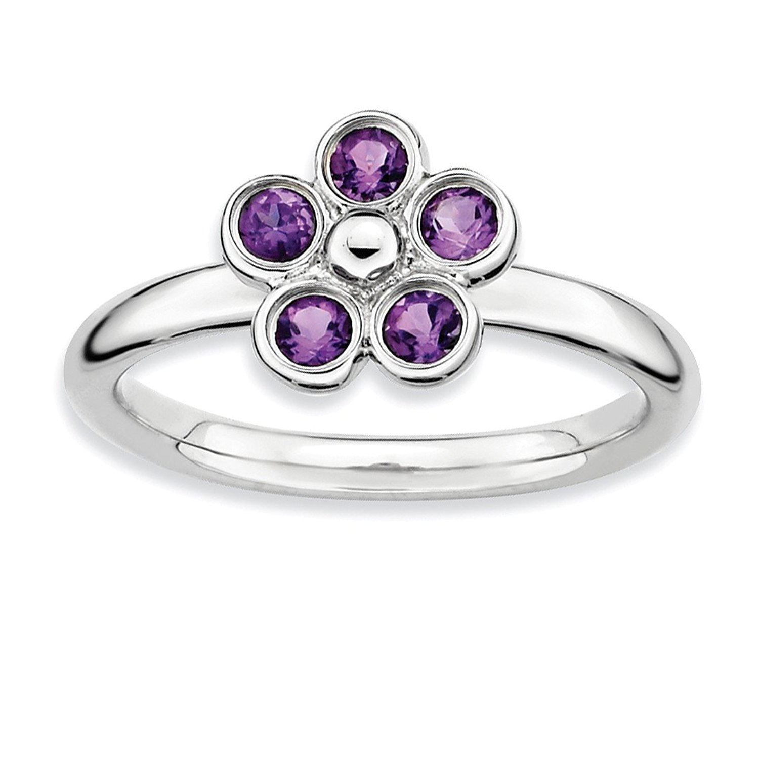 Boys 925 Sterling Silver High 4mm Round Rhodolite Red Garnet Band Ring Size 10.00 Stone Stackable Gemstone Birthstone June Fine Jewellery Gifts For Women For Her Rings