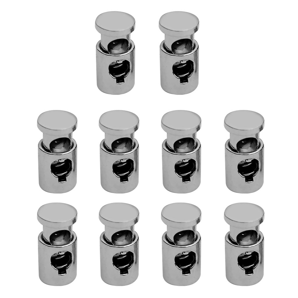 10 Pcs 17mm Bean Oval 2 hole Rope Metal Cord Lock toggles Stoppers For Clothes