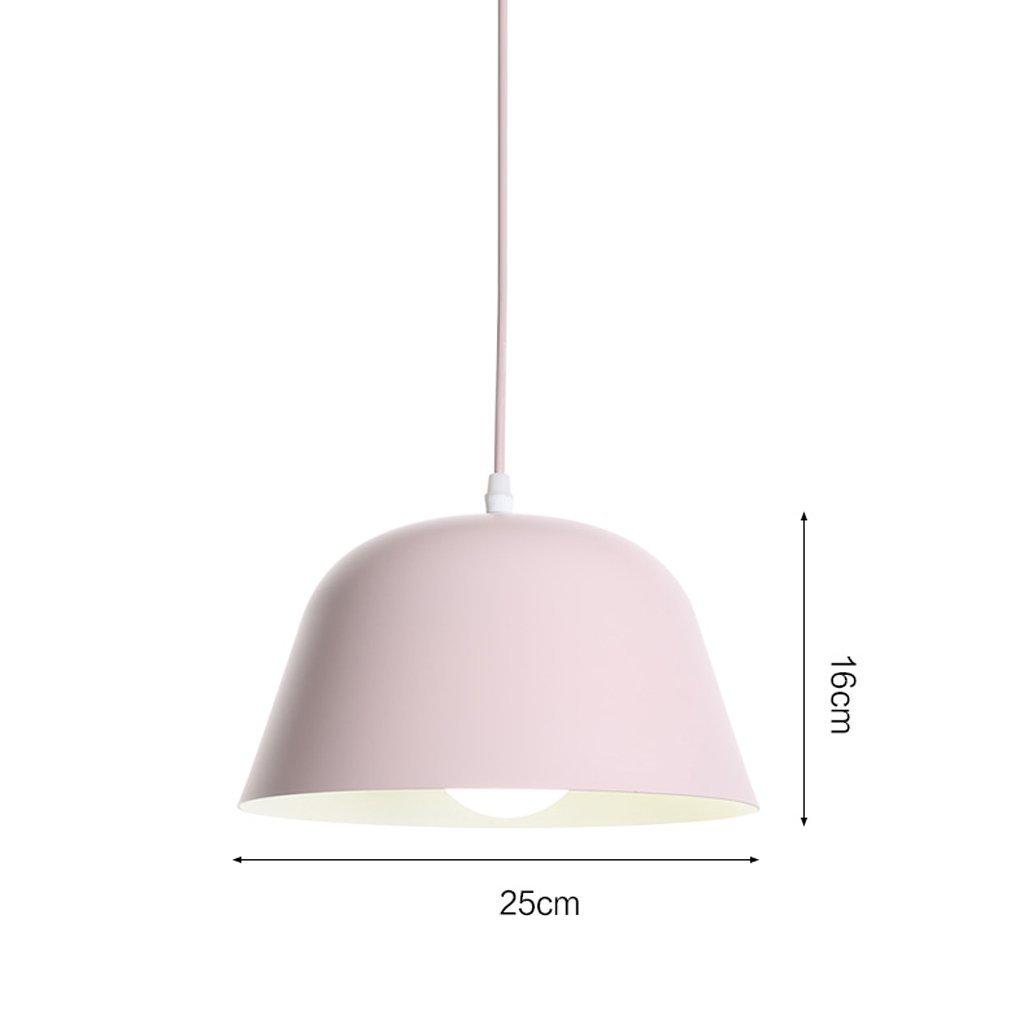LED Single-head Chandelier, Multi-color Optional, 25cm/40cm Diameter,aluminum Lampshade, Personalized Bar Counter Bedroom Chandeliers ( Color : Pink-2516cm )