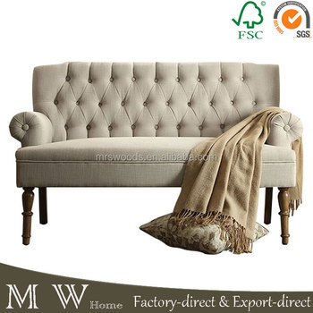 Natural Linen Long Chesterfield Sofa French Country Style Provincial On Cushion
