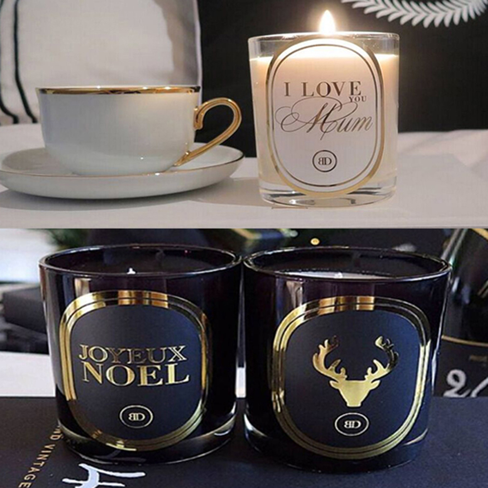 cheap customized design hot stamping printing candle labels self adhesive gold foil stickers