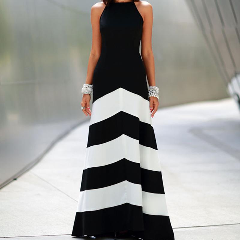 Платье бандажное, сексуальный женщины лето стиль Boho длинная макси вечернее пляж черный белый полоска платья с низким вырезом на спине vestido Y60 * E3427 # M5