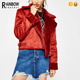 Fashion Vintage Short Red Women Double-Side Suede Jacket