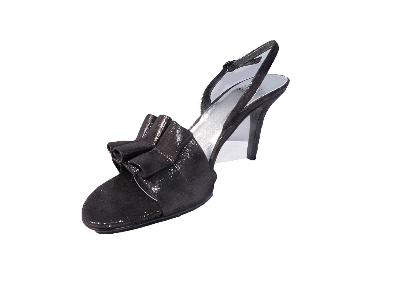 4d2e30f23a5b Get Quotations · Stuart Weitzman Womens Loulou Gunmetal Charcoal Sparkle  Suede Open Toe Heels Sandals Size 6.5 M