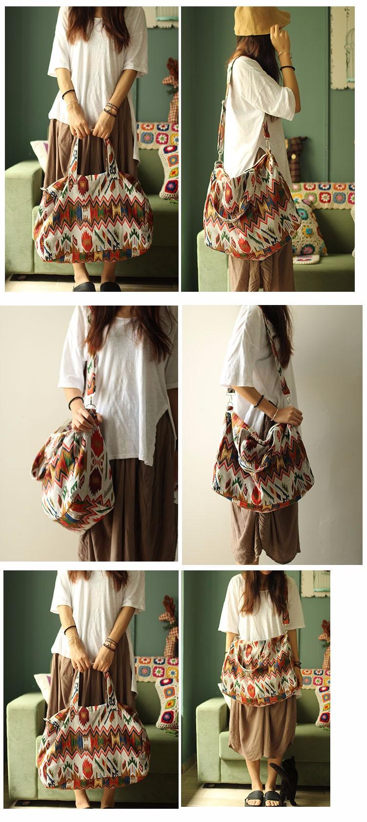 Canvas Leather Trim Travel Tote Duffel shoulder handbag Weekend Bag (4)