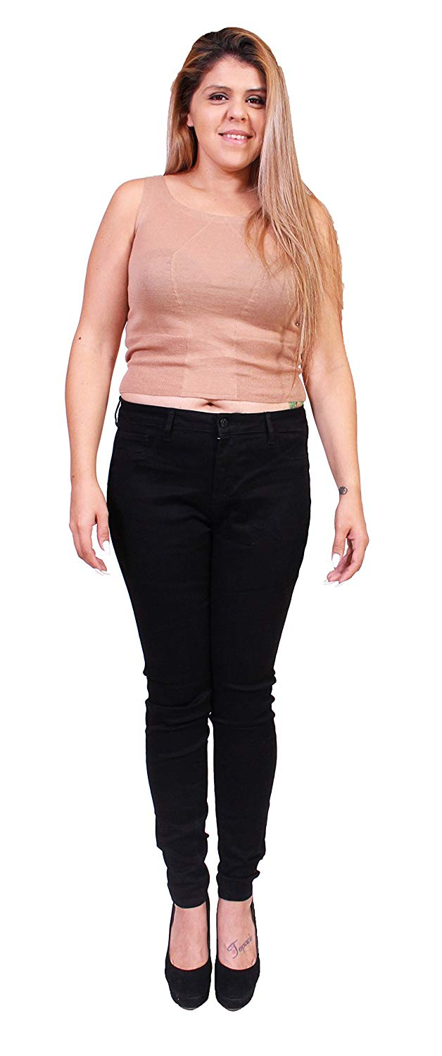 f18fa9463529a Get Quotations · Ci Sono Cello Jeans Women Plus Size Basic Black Skinny  Jeans With Fake Front Pockets