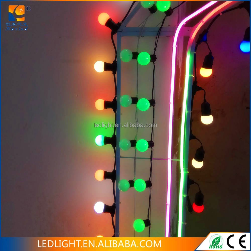 outdoor use IP 67 PVC cable 2 Wire pure copper LED light strings with E27 bulbs LED Festoon belt light in holiday lighting