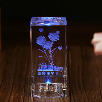 Wholesale crystal glass laser engrave with colorful led for Wholesale glass blocks for crafts