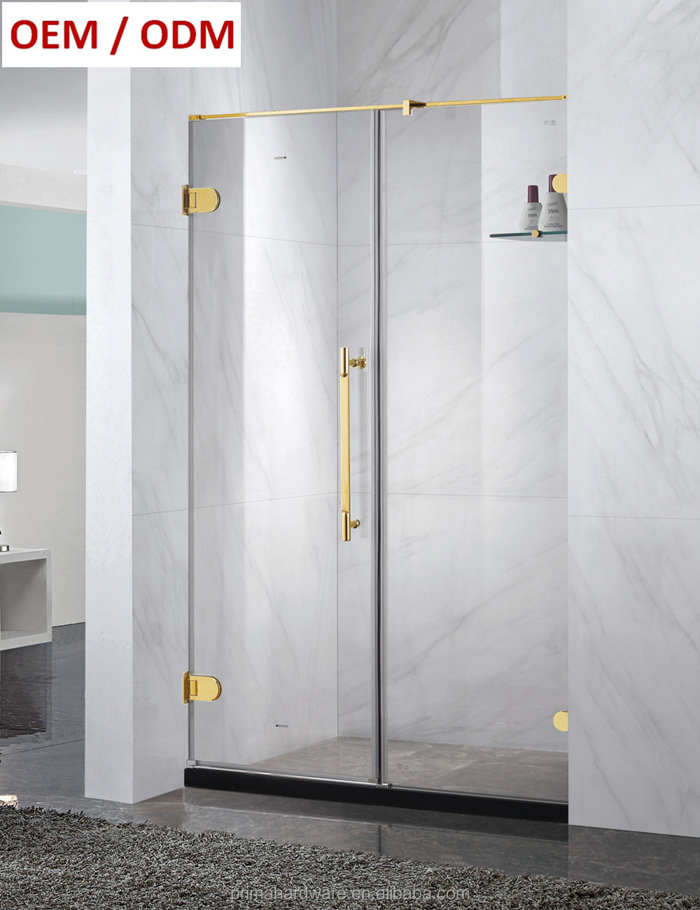 Diamond Shape hinge frameless glass shower door