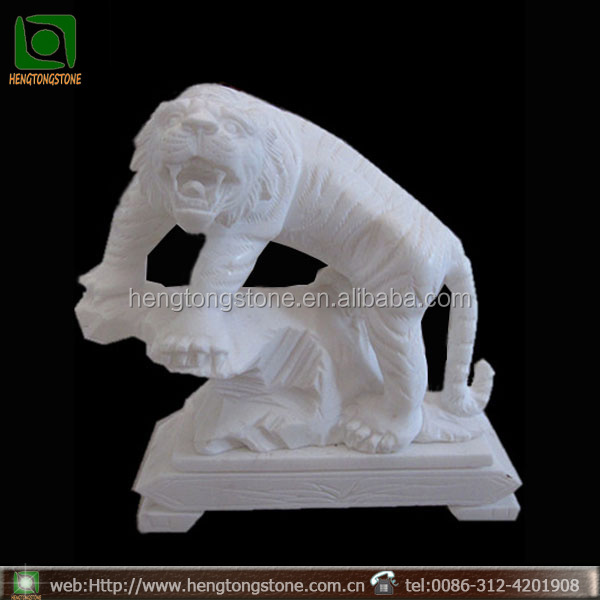 Hand Carved White Marble Stone Tiger Statue