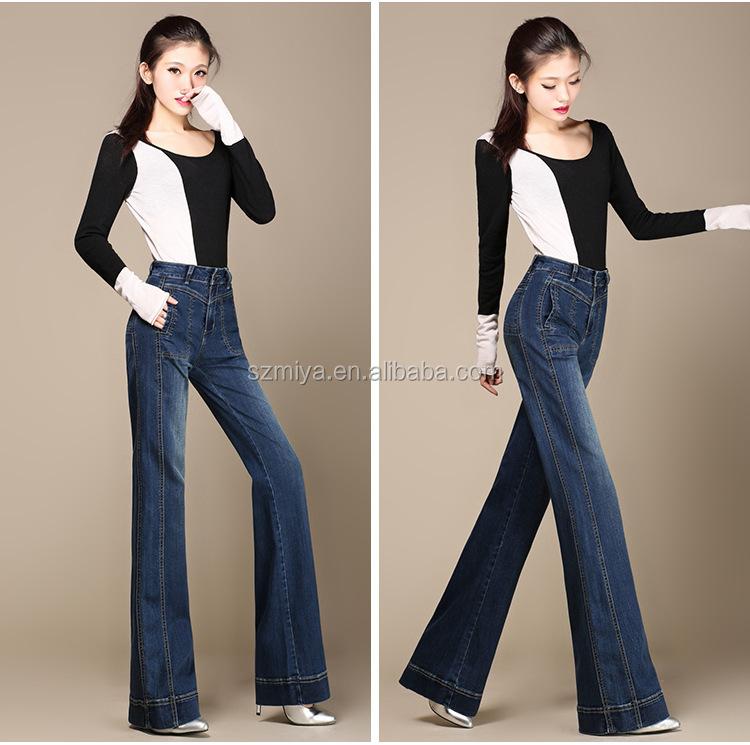 Pantalones Vaqueros Personalizados De Talle Alto Acampanados De Talla Grande De Pierna Ancha Para Mujer Bota