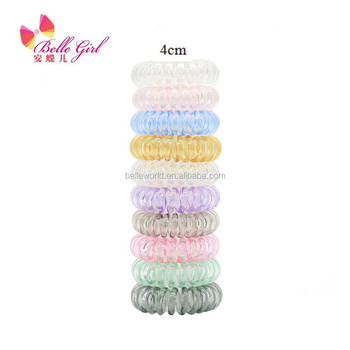 Summer hot accessories small size transparent cand color good stretch elastic telephone cord hair ties for girls