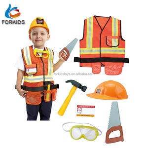 Deluxe children role play costume,kids plastic construction play tool set toy