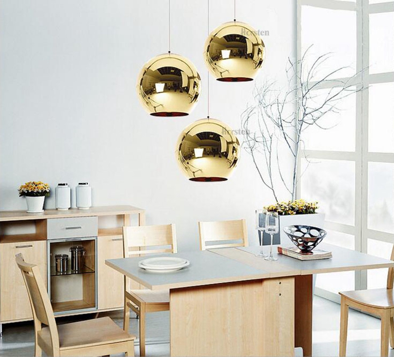 Horstent Nordic Home globe glass pendant lamp silver gold copper color dinning room living room light home decoration lighting (6)