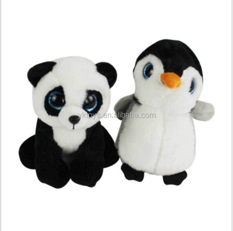 Popular and promotion stitch cute big eye panda and penguin animal plush toy