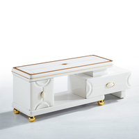 Excellent Furniture white Cheap Modern marble TV bench or TV cabinet