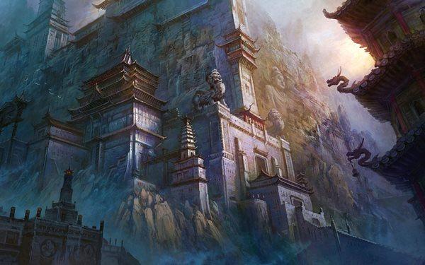 architecture majestic mountain buildings fantasy art artwork <font><b>Asian</b></font> Fan Ming 4 Sizes <font><b>Home</b></font> <font><b>Decoration</b></font> Canvas Poster Print