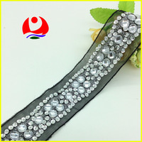 Wholesale metalic silver thread embroidery sequin appliques white acrylic stone hand sewing lace trimmings for belt decoration